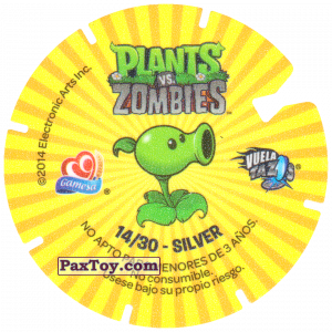 PaxToy.com - Фишка / POG / CAP / Tazo 14 Zombi and Potato Mine (Сторна-back) из Gamesa: Plants Vs. Zombies TAZOS