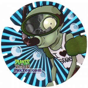 PaxToy.com  Фишка / POG / CAP / Tazo 16 Snorkel Zombie из Gamesa: Plants Vs. Zombies TAZOS