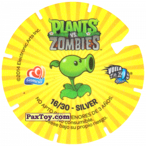 PaxToy.com - Фишка / POG / CAP / Tazo 16 Snorkel Zombie (Сторна-back) из Gamesa: Plants Vs. Zombies TAZOS