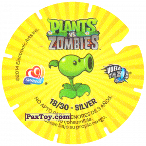 PaxToy.com - 18 Peashooter (Сторна-back) из Gamesa: Plants Vs. Zombies TAZOS