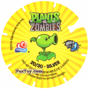 PaxToy.com - 20 Snow Pea (Сторна-back) из Gamesa: Plants Vs. Zombies TAZOS