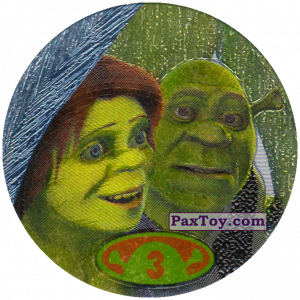 PaxToy.com  Фишка / POG / CAP / Tazo 3 Shrek & Fiona из Cheetos: Shrek 2 (50 штук)