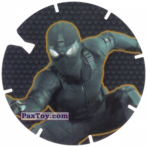 PaxToy.com  Фишка / POG / CAP / Tazo 37 New Black Spider-Man (MEGA TAZO) из Doritos: Spider-Man Lejos De Casa (MEGA TAZOS)