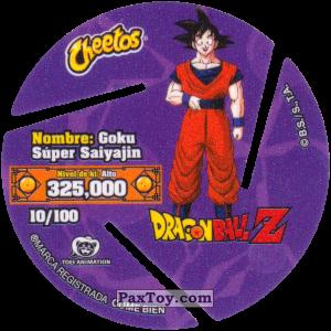 PaxToy.com - 010 Son Goku - Super Saiyan (Сторна-back) из Sabritas: Dragon Ball Z XFERAS Tazos