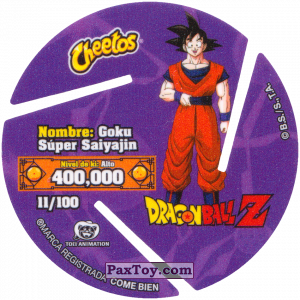PaxToy.com - 011 Super Saiyan Goku - Preparing to attack (Сторна-back) из Cheetos: Dragon Ball Z XFERAS Tazos