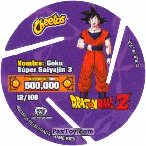 PaxToy.com - 012 Super Saiyan Goku - Fly (Сторна-back) из Cheetos: Dragon Ball Z XFERAS Tazos