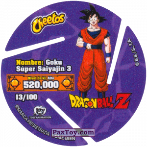 PaxToy.com - 013 Super Saiyan Goku - Blast (Сторна-back) из Cheetos: Dragon Ball Z XFERAS Tazos