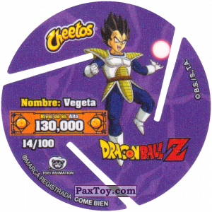 PaxToy.com - 014 Vegeta (Сторна-back) из Sabritas: Dragon Ball Z XFERAS Tazos