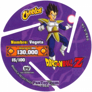 PaxToy.com - 015 Vegeta - Preparing to attack (Сторна-back) из Cheetos: Dragon Ball Z XFERAS Tazos