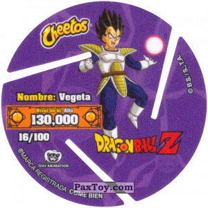 PaxToy.com - 016 Vegeta - Attack (Сторна-back) из Cheetos: Dragon Ball Z XFERAS Tazos