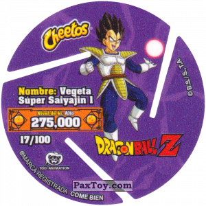 PaxToy.com - 017 Super Saiyan Vegeta - Preparing to attack (Сторна-back) из Cheetos: Dragon Ball Z XFERAS Tazos