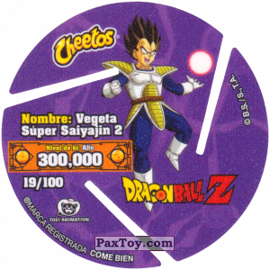 PaxToy.com - 019 Super Saiyan Vegeta (Сторна-back) из Cheetos: Dragon Ball Z XFERAS Tazos