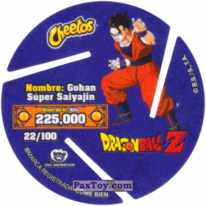 PaxToy.com - 022 Super Saiyan Gohan - Attack (Сторна-back) из Cheetos: Dragon Ball Z XFERAS Tazos