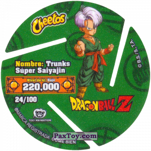 PaxToy.com - 024 Super Saiyan Trunks (Сторна-back) из Cheetos: Dragon Ball Z XFERAS Tazos