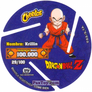 PaxToy.com - 029 Krillin - OK (Сторна-back) из Cheetos: Dragon Ball Z XFERAS Tazos