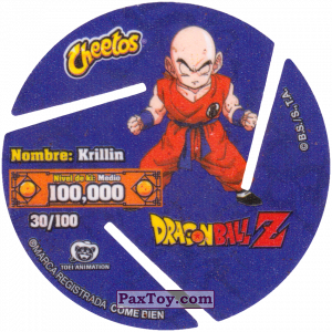 PaxToy.com - 030 Krillin (Сторна-back) из Cheetos: Dragon Ball Z XFERAS Tazos