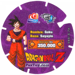 PaxToy.com - Фишка / POG / CAP / Tazo 09/30 Goku - Sayayin (Сторна-back) из Gamesa: Dragon Ball Z - Vuela Tazos Prismatic