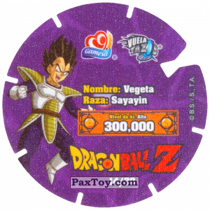 PaxToy.com - Фишка / POG / CAP / Tazo 14/30 Vegeta - Sayayin (Сторна-back) из Gamesa: Dragon Ball Z - Vuela Tazos Prismatic