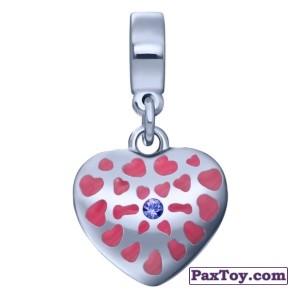 PaxToy.com - 06 Фигурный шарм-сердечко с фиолетовым кристаллом из Корона: «Холодное сердце» Коллекция шармов от всего сердца