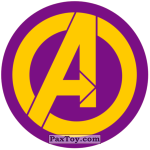 PaxToy.com  Наклейка / Стикер 01 Раунд Начивка - Символ команды Мстители MARVEL из Пятёрочка: Начивки