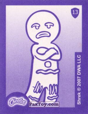 PaxToy.com - Карточка / Card, Наклейка / Стикер 13 Пряничный человечек (Сторна-back) из Cheetos: Shrek the Third Stickers