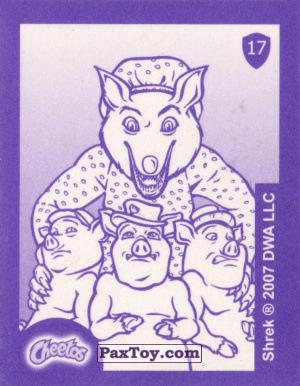 PaxToy.com - Карточка / Card, Наклейка / Стикер 17 Три поросенка и Волк (Сторна-back) из Cheetos: Shrek the Third Stickers