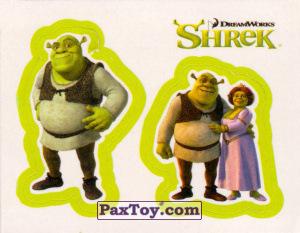 PaxToy.com  Карточка / Card, Наклейка / Стикер 21 Раздельный стикер - Шрек и Фиона из Cheetos: Shrek the Third Stickers