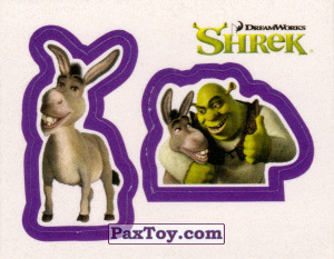 PaxToy.com  Карточка / Card, Наклейка / Стикер 24 Раздельный стикер - Осел и Шрек из Cheetos: Shrek the Third Stickers