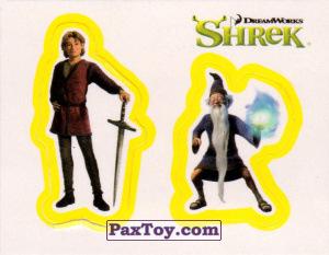 PaxToy.com  Карточка / Card, Наклейка / Стикер 30 Раздельный стикер - Артур и Мерлин из Cheetos: Shrek the Third Stickers