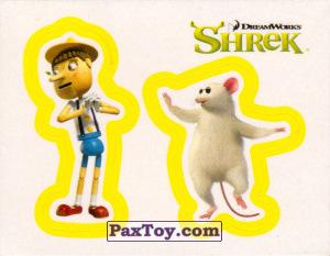 PaxToy.com  Карточка / Card, Наклейка / Стикер 40 Раздельный стикер - Пиноккио и Слепая Мышь из Cheetos: Shrek the Third Stickers